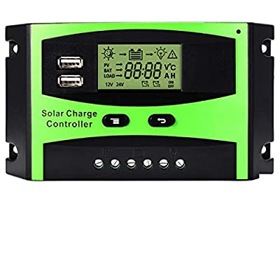 MOHOO 30A Solar Charge Controller Solar Panel Intelligent Regulator with Dual USB Port PWM LCD Display 12V/24V