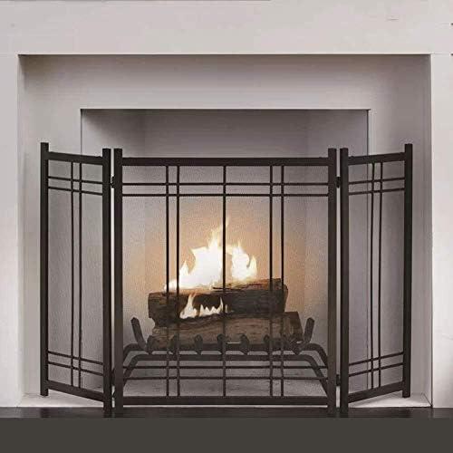 赤ちゃんペット、ブラックのためのメッシュで暖炉スクリーン折りたたみ火ガード、3パネルスパークフレイムガード装飾、屋内と屋外のフリースタンディングスパークガード