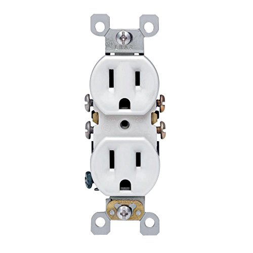 Leviton 5320-WMP 15 Amp, 125 Volt, Duplex Receptacle, Residential Grade, Self-Grounding, 10-Pack, White