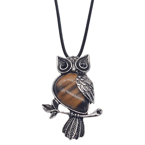 Zhepin Owl Necklace Tiger Eyes Natural Healing Stone Necklace about 19 inches Spiritual Energy Christmas Gift Pendant Necklace in Gift Box