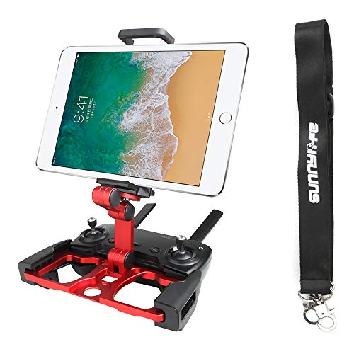 Anbee Foldable Aluminum Tablet Stand Smart Phone Holder Bracket with Lanyard Compatible with DJI Mavic 2 / Mavic Pro Platinum/Mavic Air/Spark Drone Remote Controller (Red)