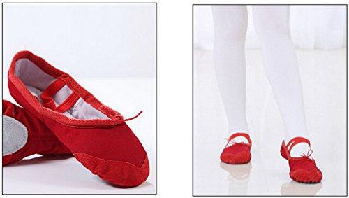 Happy Cherry - Zapatos de Ballet Zapatiilas de Danza Baile Media Punta de Lona Suela de Piel Punta Reforzada de Cuero para Niñas Chicas Baillerina - Rojo color salmón - Talla 23-36 Rojo
