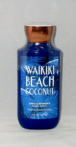 - Bath and Body Works Shea Vitamin E Lotion Waikiki Beach Coconut 8 Ounce Full Size 2017 Dark Blue Packaging