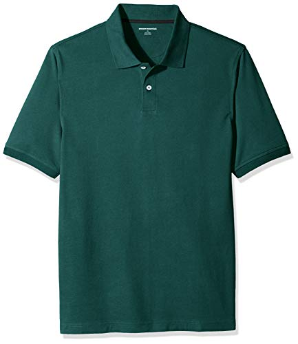 Amazon Essentials Men's Regular-Fit Cotton Pique Polo Shirt, Hunter Green, Large