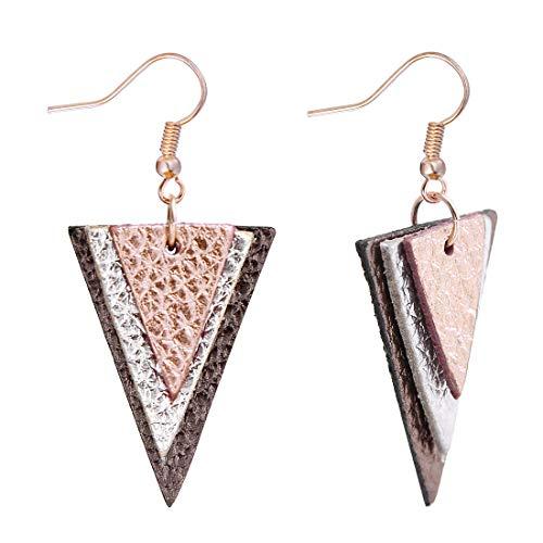 (Genuine Leather Earrings for Women Triple Layer Teardrop Round Bohemian Drop Dangle Earrings (Rose gold(Triangle)))