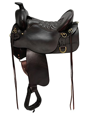 Tucker Trail Saddles - HorseSaddleShop High Plains Tucker Trail Saddle 722521111-17.5in, BRN,Tool,AdjPosClosCntct,FullSkirt,WstrnFnd,2.5LthrStirrup,Brass,MediumTree