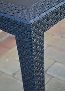 Gartentisch Rattan Optik Tisch Schwarz 79 X 79 Cm Bistrotisch