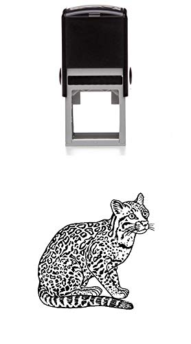 Ocelot (Wild Cat) Rubber Stamp - Medium Self-Inking - 1.5 inches (40mm) Tall Image Area - Select from Several Sizes - Some can be Customized with Your own Text - Black Ink