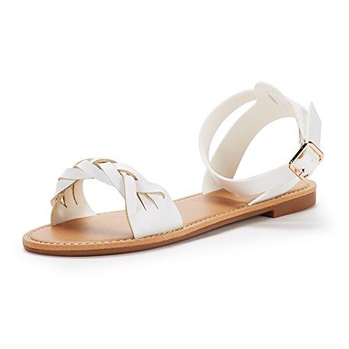 DREAM PAIRS Women's HOBOO_B White Pu Fashion Ankle Strap Flat Sandals Size 10 M (Pu Womens Fashion Sandals)
