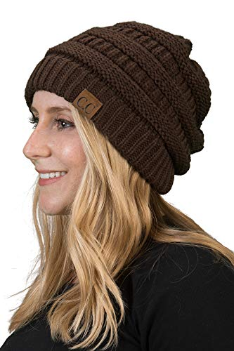H-6020a-07 Funky Junque Solid Ribbed Beanie - Brown