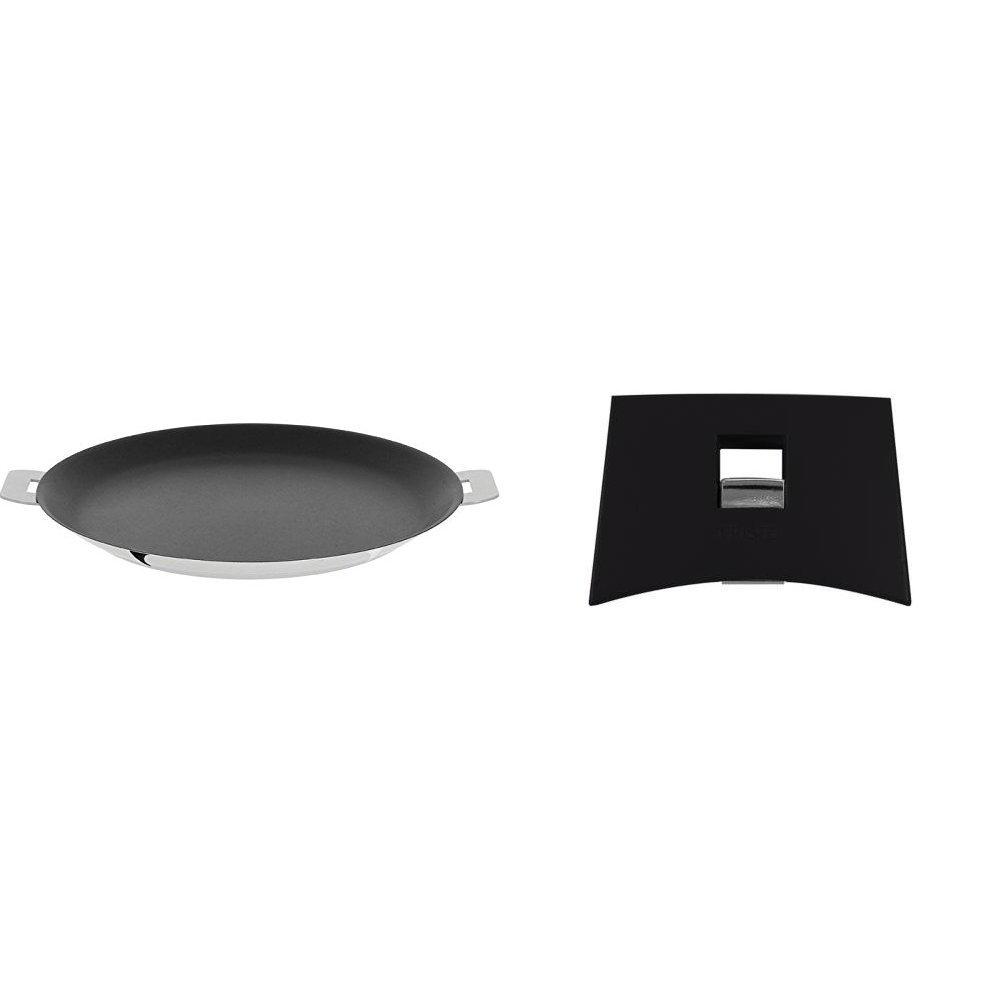 Cristel CR30QE Non-Stick Crepe Pan, Silver, 12'' with Cristel Mutine Plman Side Handle, 1'', Black