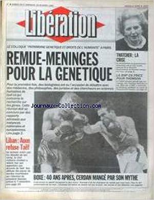 LIBERATION [No 2623] du 28/10/1989 - LE COLLOQUE PATRIMOINE GENETIQUE ET DROITS DE L'HUMANITE A PARIS - THATCHER - LA CRISE - LA BNP EN PINCE POUR THOMSON - LIBAN - AOUN REFUSE TAEF - BOXE - 40 ANS APRES - CERDAN MANGE PAR SON MYTHE. en français FB2