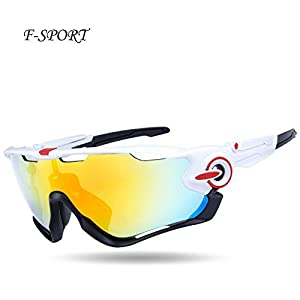 F-sport 2016 Newest Outdoor Sports Fashion Sunglasses.Great For Cycling Driving Hiking Skiing or Fishing.Changeable Lenses and Unbreakable High strength(white)