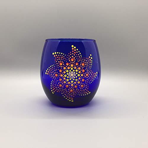 Pinwheel Dot Mandala Hand Painted Cobalt Blue Red Wine Glass