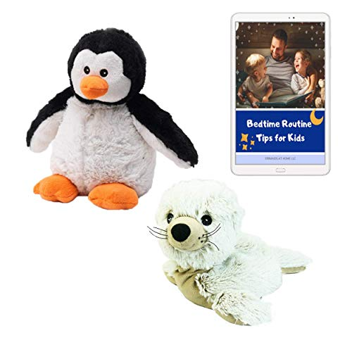 Intelex Warmies Cozy Plush, Seal and Penguin Stuffed Animals for use as Heating Pad, Kids Sleep Aid or Autism Toys|Lavender Scented|Full Size|Sea Creatures Bundle|Plus Bedtime Routine eBook