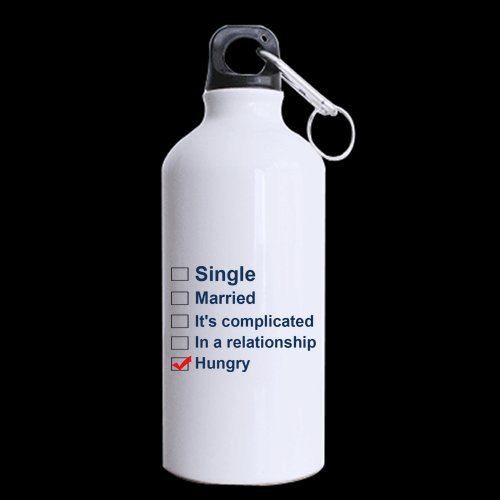 Funny Saying Quotes Single Married It's complicated In a relationship Hungry Sports Bottle - 13.5 OZ Two Sides Print