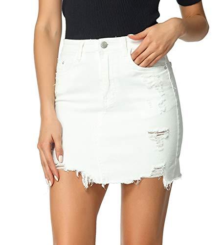 - chouyatou Women's Irregular Basic 5 Pocket Ripped Hole Mini Denim Pencil Skirt (Medium, White)