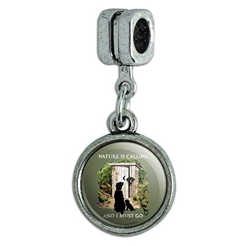 GRAPHICS & MORE Nature is Calling and I Must Go Outhouse Labs Dogs Italian European Style Bracelet Charm Bead