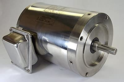 1 hp 1750 RPM 56C Frame TENV 208-230/460 Volts Stainless Steel Leeson Electric Motor # 191290