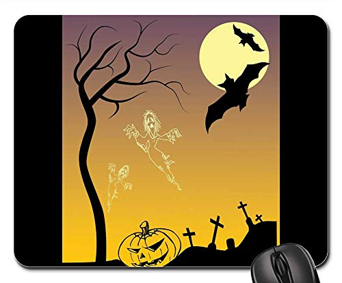 Mouse Pads - Halloween Poster Drawing Scary Pumpkin Creepy