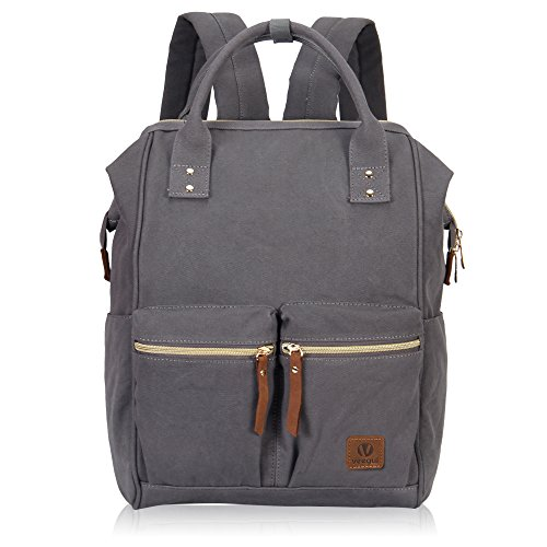 Veegul Stylish Doctor Style Multipurpose Canvas School Travel Backpack for Men Women Dual Pockets Grey VGD
