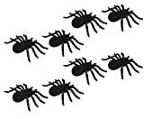 """Set of 8 Small Size 4"""" Halloween Spiders Flocked with Glitter Trim Legs! Assorted Colors! 4"""" Spiders - Perfect for any Halloween Parties and Decorations! (8)"""