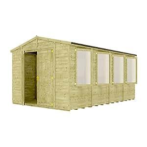 10FT jardín cobertizo de madera tratada a presión gran maestro de ventana tradicional Apex Gable doble puerta