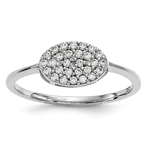 Ring Cut Cushion Diamond Bow (14k White Gold Diamond Cluster Oval Band Ring Size 7.00 Fine Jewelry For Women Gift Set)