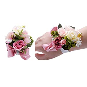 USIX Corsage Pack-Handmade Artificial Rose Rosa Blossom Green Leaves Wrist Corsage & Men's Lapel Boutonniere Pin Corsage Set for Wedding Party Prom Homecoming (Pink Corsage) 109