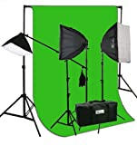 ePhoto ChromaKey Green Screen Background Stands with 2400 Watt Video Photography Studio Hair Boom Lighting Kit Case H9004SB269G