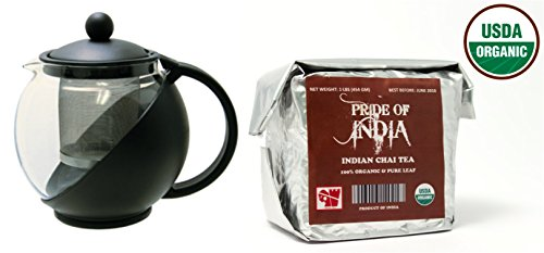 Pride Of India - Organic Indian Chai Tea - Half Pound Full Leaf & Tempered 3-Cup Glass Tea Pot w/ Removable Infuser - 25 Fluid Ounces Combo Pack LIMITED TIME SALE PRICE: $24.99
