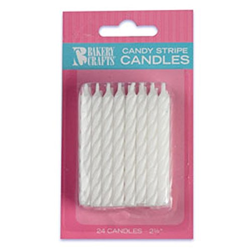 Oasis Supply Candy Stripe Birthday Candles, 2.5-Inch, White