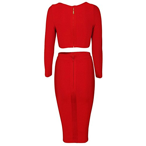 HLBandage 2 Piece Set Long Sleeve High waist Knee Length Bandage Dress Rojo