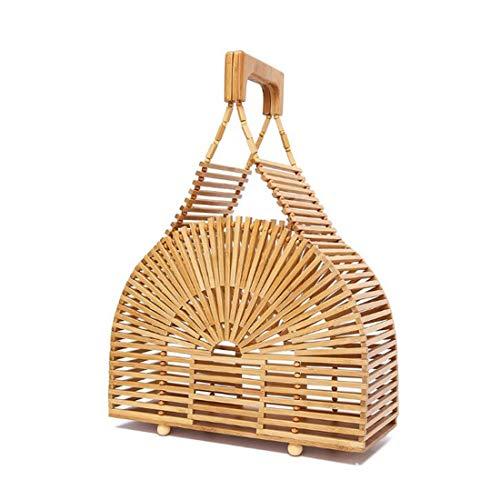 de Paja la Mujeres Mano Bolsa la la Las a del para Hecho Bolso de de de Grande de 4 1 Color Playa del Asas Monedero Bolso PUWEN bambú SqvYwRfx