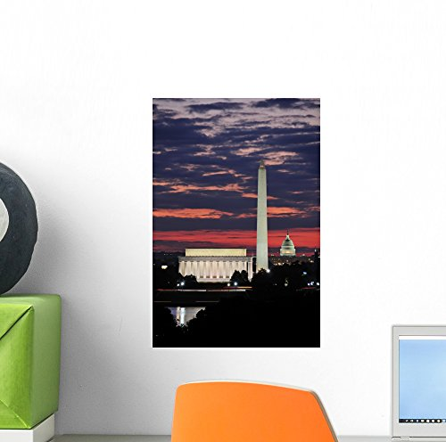 Washington Dc Skyline Wall Mural by Wallmonkeys Peel and Stick Graphic (12 in H x 8 in W) - Washington Best Dc Malls In