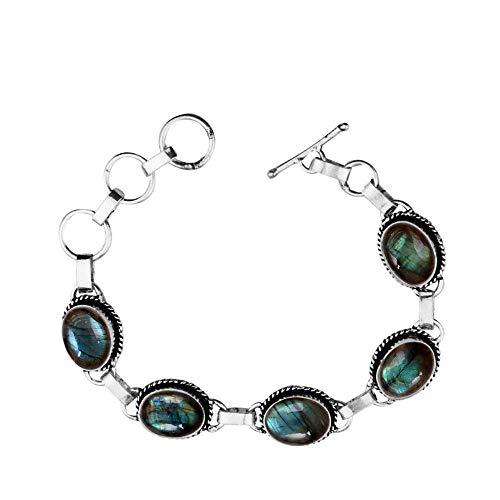 Genuine Oval Shape Labradorite Link Five Stone Bracelet 925 Silver Overlay Handmade Vintage Bohemian Style Jewelry for Women Girls