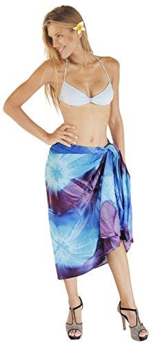La Leela suave tinte del lazo rayón mano remolinos encubrir playa de la falda pareo 78x43 pulgadas Púrpura Apasionada