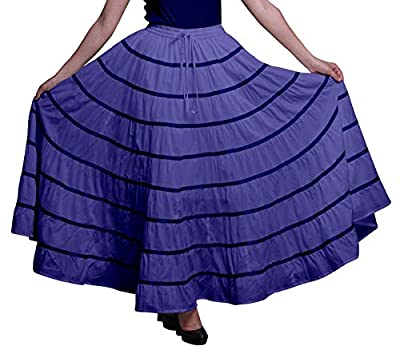 Phagun Women Indian Clothing Lavender Blue Long Casual Skirt Summer Wear