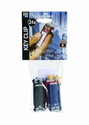 DURABLE Key Tags for DURABLE Key Cabinets, Plastic, 1-1/8 x 2-3/4 Inches, Assorted, 24-Pack (194900)