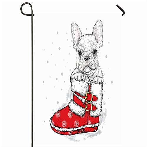 - Ahawoso Outdoor Garden Flag 12x18 Inches December Holiday Atmosphere French Bulldog New Years Lettering Boot Straps Holidays Buckles Character Home Decor Seasonal Double Sides House Yard Sign Banner