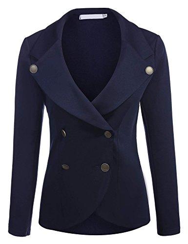 - ELESOL Womens Classic Basic One Button Blazer Long Sleeve Work Casual Coat Dark Blue/M