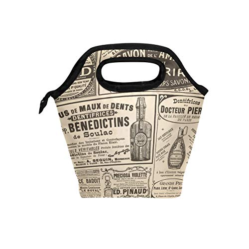 Insulated Lunch Bag English Newspaper Meal Tote Keep Food Hot/Cold Case for Women Men Boys Girls Kids