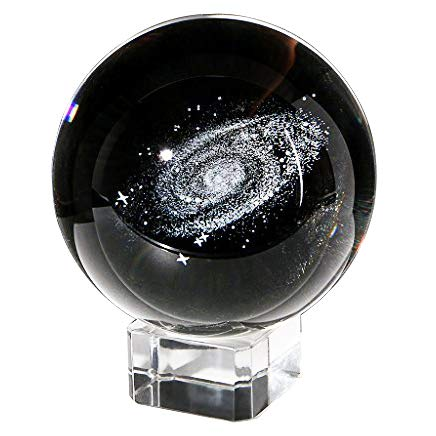 Waltz&F 60mm Galaxy Paperweight,Fengshui Crystal Ball Home Decoration,Full Sphere with Stand