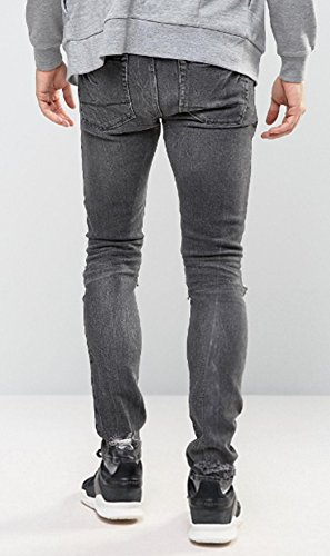 Men's Super Skinny Relaxed Fit Jeans with Knee Zipper Rips Details Black 32