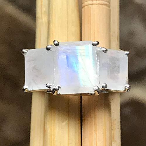 Genuine Rainbow Moonstone 925 Solid Sterling Silver 3 Stone Emerald Cut Ring sz 5.75, 6, 6.25, 7, 7.25, 8, 9