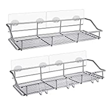 Carry360 2 Pack Shower Caddy,Shower Shelf,Wall Mounted Adhesive Bathroom Shelf Basket Organizer Storage for Kitchen Rack Dorm RV-,No Drilling,Rustproof,Waterproof,304 SUS Stainless Steel