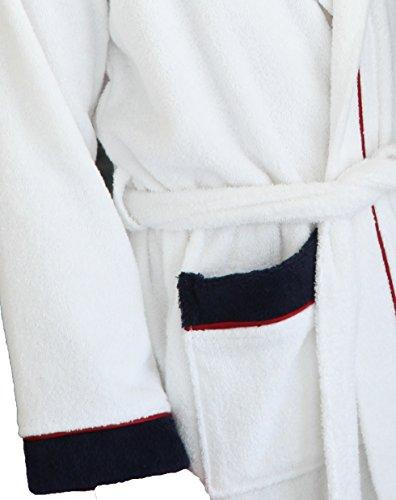 Bademantel mit Kapuze in Baumwolle Frottee weiß für Damen und Herren S-XXL - U.S. Sport America, Größe:M