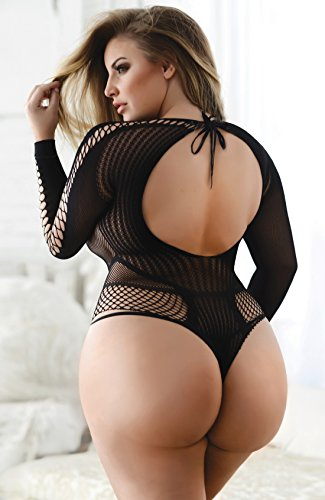 4c22eb748a Killer Legs Yelete Fishnet Bodysuit Romper Teddy Crotchless Open Crotch Body  Stockings - Regular Queen Plus