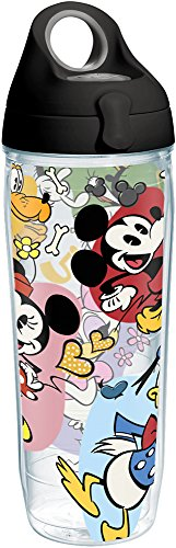 Mickey Mouse Water Bottle (Tervis 1227847 Disney - Classic Characters Tumbler with Wrap and Black with Gray Lid 24oz Water Bottle, Clear)