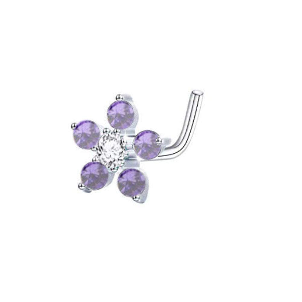 20g Sterling Silver L Shaped 6mm Cz Flower Nose Rings by Peki Nose Rings